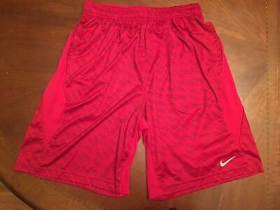 NIKE Men's Dri-Fit Basketball Shorts Running Athletic - Red w/Black Stripes - M