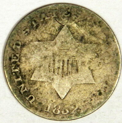 1852 Three Cent Silver - Nice Original Never Cleaned Good+ Type 1 3C! (Inv#2)