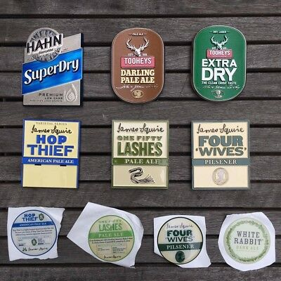 Various Beer Tap Decals, Stickers and Badges (James Squire, Tooheys, Hahn)