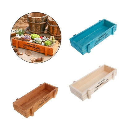 Wood Garden Flower Planter Succulent Pot Trough Rectangle Vintage Plant Box Gfit