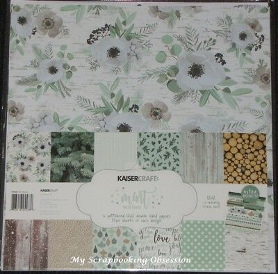 "Kaisercraft 'MINT WISHES' 12x12"" Paper Pk + Stickers Christmas/Pinecones KAISER"