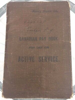 Soldier's Pay Book Lewis Pulfer Active Service World War I 1918 Canadian Army