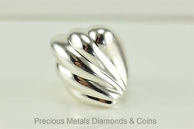 Heavy Sterling Silver Polished Shell Fan Ring TV-47 AVM Mexico TAXCO Sz: 9.5