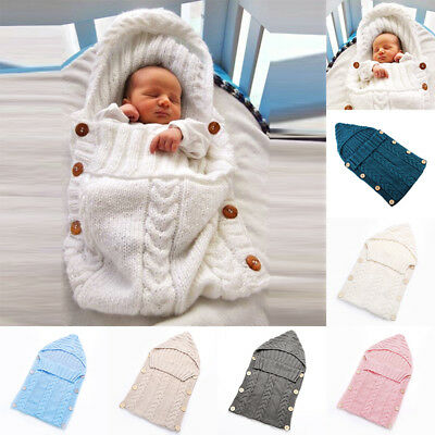 For Newborn Baby Hooded Swaddle Wrap Warm Knit Swaddling Blanket Sleeping Bag