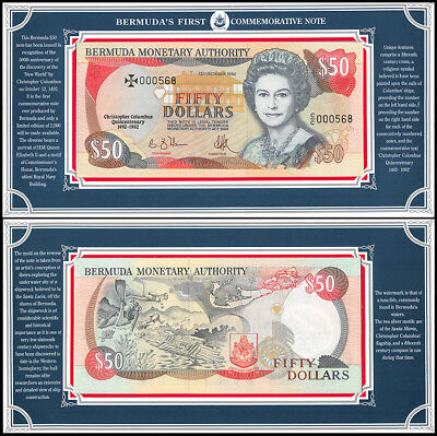 Bermuda 50 Dollar Commemorative Note, 1992, P-40, UNC, QEII, Serial # 000568