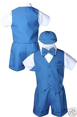 New Baby Boy Toddler Kid Blue Turquoise Teal Eton Formal Vest Shorts Outfit S-4T