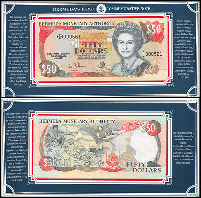 Bermuda 50 Dollar Commemorative Note, 1992, P-40, UNC, QEII, Serial # 000561