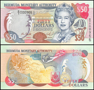 Bermuda 50 Dollars, 2007, P-54b, UNC, Queen Elizabeth II (QEII), Low Serial #966