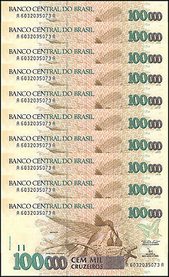 Brazil 100,000 - 100000 Cruzeiros X 10 Pieces - PCS, 1992,P-235a, Used