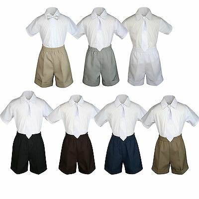 3pc Baby Boy Toddler Formal White tie,Navy Black Navy Gray Dark Khaki Shorts Set