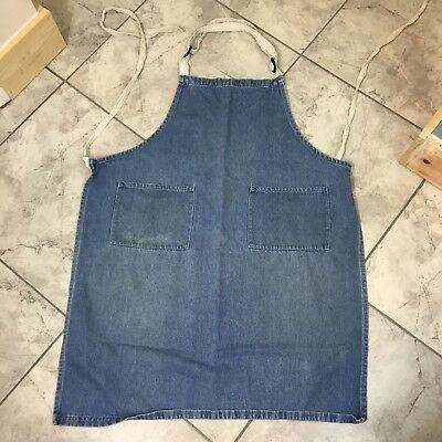 Vintage Full Apron Industrial Work Wear/Cooking Thick Denim With 2 Front Pockets