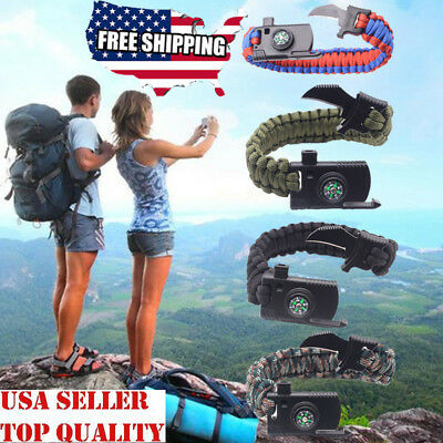15 In 1 Outdoor Survival Bracelet Paracord Compass Whistle Scraper Rope Gear USA