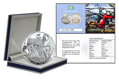 Palau $2 Dollars, 1/2 oz. Silver Proof Coin, 2015, Mint, Jonah and the Whale