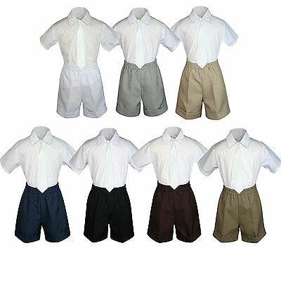3pcBaby Boys Toddler Formal Ivory tie, Gray White Black Navy D.Khaki Shorts Set