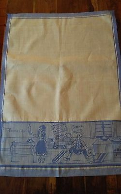 Vintage fine linen tea towel marital humorous sorry charlies out rolling pin