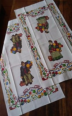 Vintage pair fine cotton tea towels Royal Doulton balloon man lady bright colors