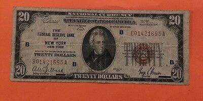 FR. 1870 B $20 1929 Federal Reserve Bank Note New York Very Fine