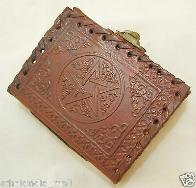 Handmade Leather Journal Mini Pocket Diary Pentagram Blank Book of Shadows Wicca