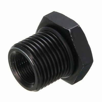 Aluminum Automotive Oil Filter Threaded Adapter 1/2-28 to 3/4-16 Black Anodized