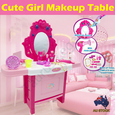 Girls Makeup Beauty Vanity Desk Dressing Table Music Light Kids Pretend Play Toy