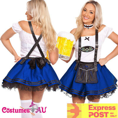 Ladies Blue Beer Maid Wench Costume Oktoberfest German Fancy Dress Halloween