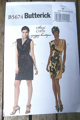Oop Butterick Easy 5674 Suzi Chin sexy close fitting evening dress siz 12-20 NEW