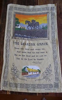 Vtg Selkirk Grace linen tea towel Linanne Robert Burns Plowhorses