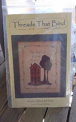 Oop Threads that bind Heart & Home primitive applique embroidery chart NEW