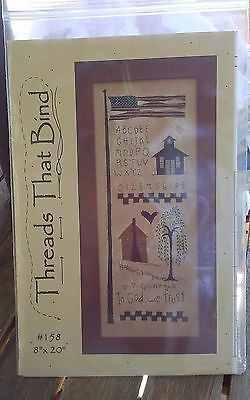 Oop Threads that bind In God we Trust primitive school applique embroidery NEW