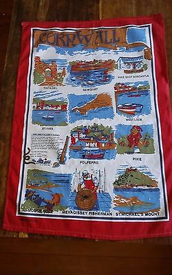 Vtg cotton tea towel Cornwall England the smugglers song red border