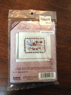 Vtg Janlynn Ribbon Embroidery Baby Notecard 21-35 NEW