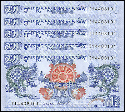 Bhutan 1 Ngultrum X 5 Pieces (PCS), 2013, P-27b, UNC