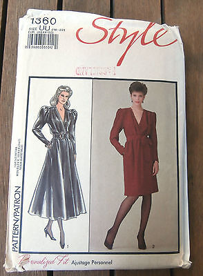 Oop Style 1360 Misses Front Wrap Dress belted waist sizes 16-22 NEW