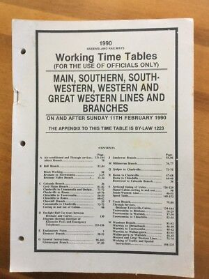 Queensland Railways 1990 Main Southern & Western Working Time Table
