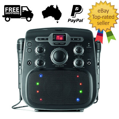 Karaoke Bluetooth Party Machine CD Player Disco Light LED Display Microphone AUX
