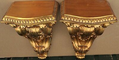 Pair Of Fantastic Looking Large & Very Ornate Gilt Wall Brackets