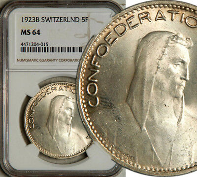 Ngc Ms-64 Switzerland Silver 5 Francs 1923 (Rare This Nice + Sought After) Gem!
