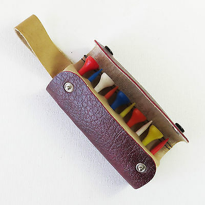 Vintage Maroon Leather Golf Tee Belt Pouch Bag, England