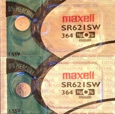 2 x MAXELL SR621SW 364 Silver Oxide 1.55 v Watch Batteries made in JAPAN