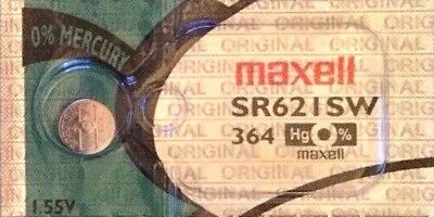 1 x Maxell SR621SW 364 Silver Oxide 1.55v Watch Batteries made in JAPAN
