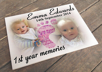 Personalised white cermaic tile plaque sign, Baby 1st year memory present