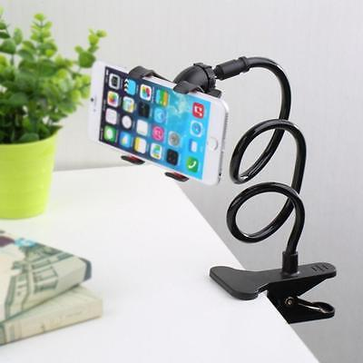 1x Lazy Mount Double V Clip Cell Phone Holder Clamp Flexible 360° Goose neck  O∷