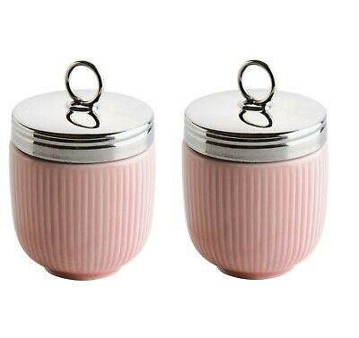 Set of 2 BIA Fluted Egg Coddler and Poacher With Stainless Steel Top - Pink
