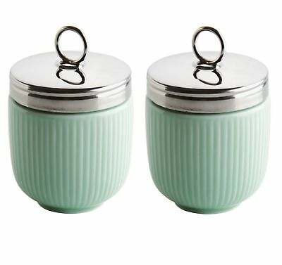 Set of 2 BIA Fluted Egg Coddler and Poacher With Stainless Steel Top - Green
