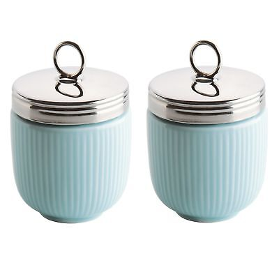 Set of 2 BIA Fluted Egg Coddler and Poacher With Stainless Steel Top - Blue