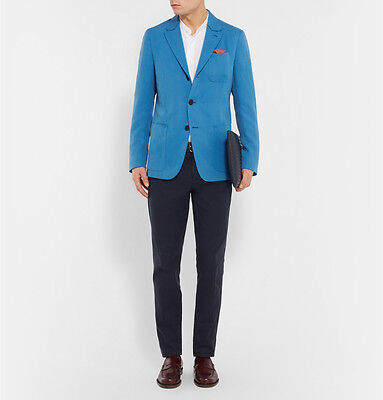 Berluti Blue Slim-Fit Single-Breasted Silk And Linen Blend Blazer Size It48/uk38