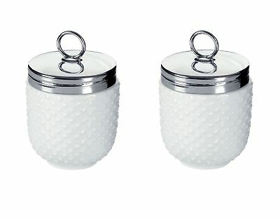 Set of 2 BIA Dotted Egg Coddler and Poacher With Stainless Steel Top - White Por
