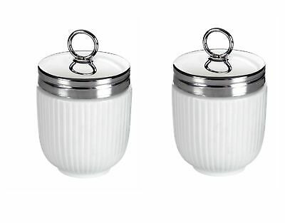 Set of 2 BIA Fluted Egg Coddler and Poacher With Stainless Steel Top - White
