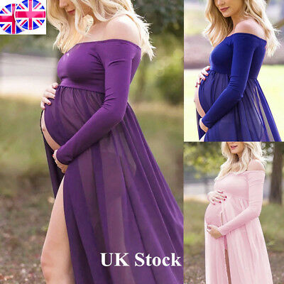 UK Pregnant Women Lace Maternity Photography Props Long Pregnancy Dress Clothes