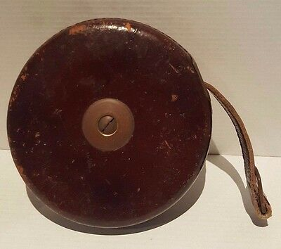 Vintage John Rabone & Sons Tape Measure England Hockley Abbey 66 Ft Leather Cas